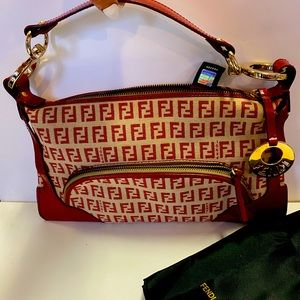 Fendi Zucca Authentic cranberry bag New